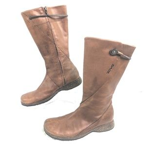 Teva Mid Calf Boots Womens 9.5 Brown Leather Side